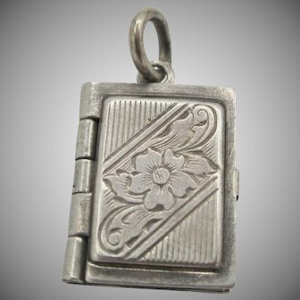 ADORABLE! Vintage Sterling Silver Book Locket Charm Early 40's