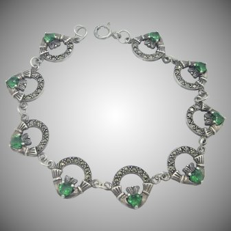 Vintage Sterling Silver Claddaugh Link Bracelet  With Synthetic Green Hearts/ Marcasite