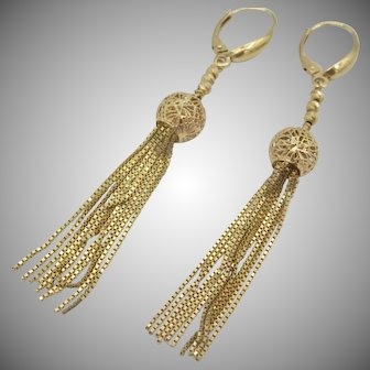 Estate Gorgeous 14K YG Italian Dangle Tassel Earrings
