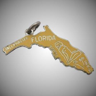 Vintage Sterling Silver Florida State Enamel Charm/Pendant