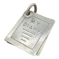 Vintage Sterling Silver 3-D Moving Diary Book Charm