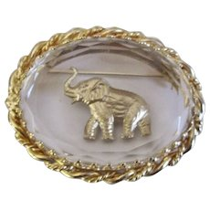 Vintage Gold-Tone Faceted Glass Elephant Brooch