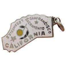 Vintage Sterling Silver Enamel California State Charm