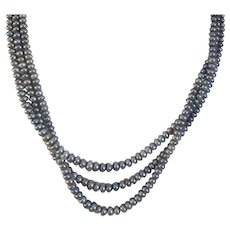 Vintage Triple Strand Black Freshwater Cultured Pearl Necklace