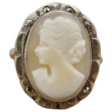Vintage Sterling Silver Cameo With Marcasites Ring Early 40's