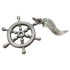 Vintage Sterling Silver Wheel With Martha's Vineyard Nautical  Flag
