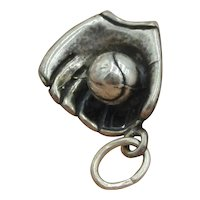 ADORABLE! Vintage Solid Sterling Silver Glove with Ball 3-D Charm