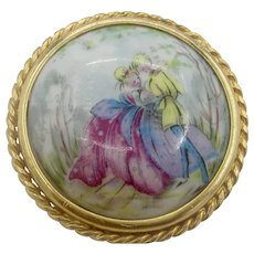 Vintage French Limoges Hand-Painted Brooch