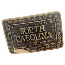 Vintage SOUTH CAROLINA Solid Brass Belt Buckle 70's Era