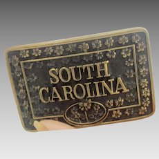 Vintage SOUTH CAROLINA Solid Brass Belt Buckle 70's Era