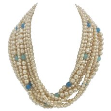 GORGEOUS Vintage Chunky Multi-Strand Faux Pearl Torsade Necklace With Large Gold-Tone Clasp