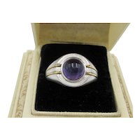 Vintage Unisex Ring With Amethyst Cabochon and Gold Trim