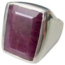 Vintage  Sterling Silver HUGE 10.25Ct Ruby Unisex Ring
