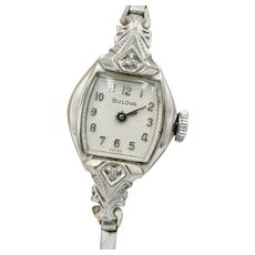 Vintage White Gold Filled Mechanical Diamond Bulova Watch
