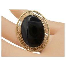 Vintage 12K Gold-Filled Black Onyx Brooch/Pendant
