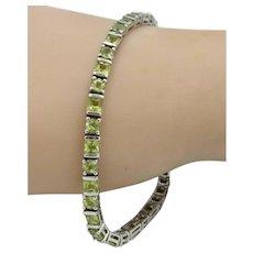 STUNNING! Estate Vintage Sterling Silver 10tcw Natural Peridot Bracelet