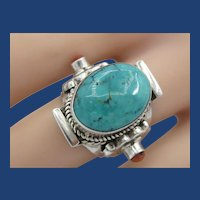 Vintage Sterling Silver Natural Turquoise Coral Ring
