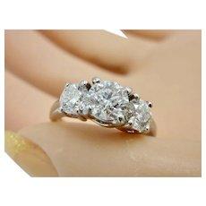 Estate 14K White Gold  Past Present Future 1.67ctw. Diamond  Ring