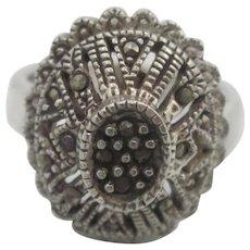 Vintage Sterling Silver Doomed Marcasite Ring