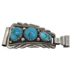 Vintage Early 50's Native American Navajo Watch Band With Turquoise Accents