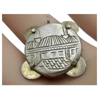 Vintage Sterling Silver 3-D  Tambourine Charm/Pendant