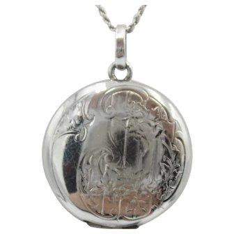 Antique Sterling Silver  Art Nouveau Two-Picture Locket Pendant