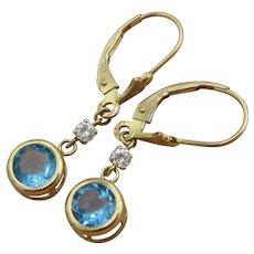 Vintage 14K Two-Tone London Blue Diamond Dangling Earrings