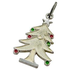 Mid 19th Century Sterling Silver Enameled Christmas Tree Pendant/Charm