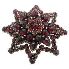 Victorian Bohemian Red Garnet Star Brooch