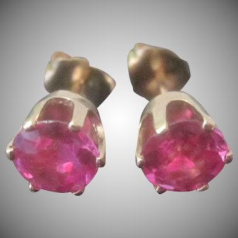Vintage 14K Yellow Gold 2.10ct Synthetic Rubies Stud Earrings