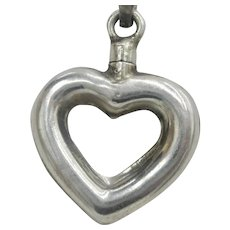 Vintage Sterling Silver Heart Perfume Pendant