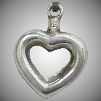 Vintage Sterling Silver Heart Perfume Pendant