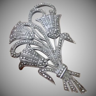 Art Deco Sterling Silver Sparkling Marcasite Flower Brooch