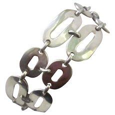 Vintage European Modernist Sterling Silver Link Bracelet