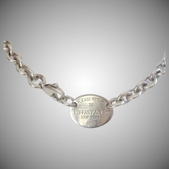 Authentic Retired Tiffany & Co. Sterling Silver 15 1/2 Tag Necklace