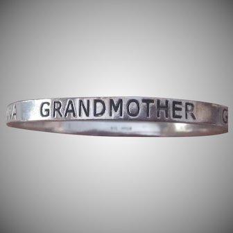 "5 Language ""GRANDMA"" Solid Sterling Silver Bangle Bracelet"
