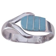 Vintage TAXCO 950 Sterling Silver Natural Inlaid Turquoise Hinged Clamper Bracelet