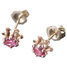 Vintage 1950's  14K Y.G. Natural .40tcw Ruby Pierced Post Tulip Earrings