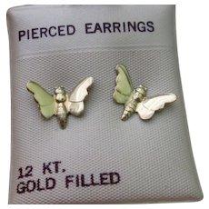 Vintage 12K Gold-Filled Pierced Post Butterfly Earrings