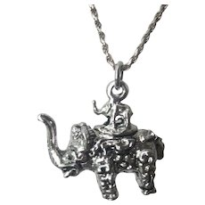 Vintage Two Elephant Sterling Silver Pendant