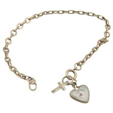 Vintage 12K Gold-Filled Cable Link Bracelet With Mustard Seed Heart and Cross Charms