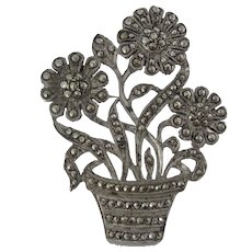 Art Deco Sterling Silver Brooch With Sparkling Marcasites