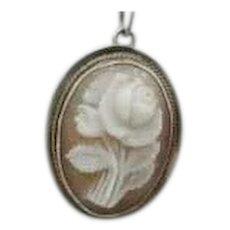 Vintage Sterling Rose Cameo Rose Gold Pendant
