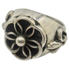 Vintage Sterling Silver Fleur Dis Lis Unisex Ring