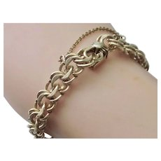 Vintage  12K Gold-Filled Double Curb Link Charm Bracelet With Chain