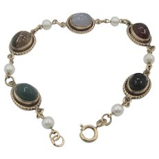 Lovely Vintage Scarab Cultured Pearl  12K Gold-Filled Link Bracelet