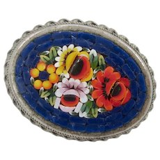 Beautiful Antique Italian Mosaic Floral Oval  Brooch