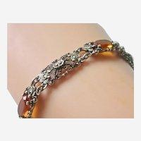 Vintage European Sterling Silver Citrine Paste Marcasite Link Bracelet