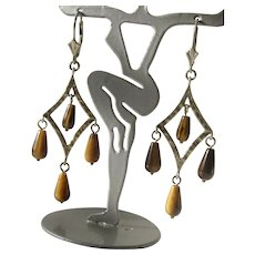 Vintage Sterling Silver Early 70's Dangling Earrings with Pear Shaped Tiger Eyes Stones