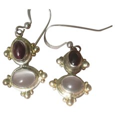 Estate Sterling Silver Cabochon Garnet & Moon Stones Dangling Earrings